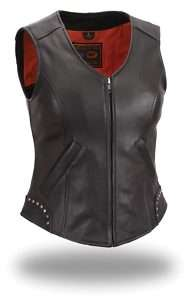 HOUSE OF HARLEY WOMENS RIVETED LEATHER VEST FIL560NOC