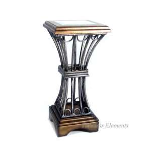 Wood Glass Pedestal Table, Wrought Iron Plant Stand