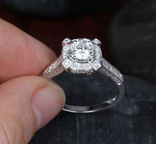 02ct DIAMOND SOLITAIRE/SIDE 14K WHITE GOLD PAVE ENGAGEMENT WEDDING
