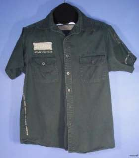 Mens Dickies Gray Short Sleeve Work Clothes Button Down Shirt Size