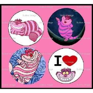 Set of 4 Cheshire Cat Buttons Pins Pinbacks