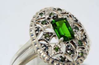 EMERALD CUT CHROMIUM DIOPSIDE & GREEN DIAMOND RING SIZE 8.25