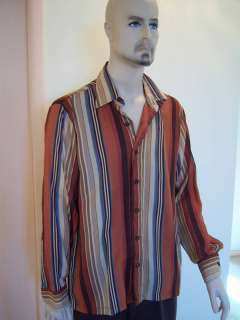 Vintage 70s Damon Brown Striped Mod Disco Shirt Mens L
