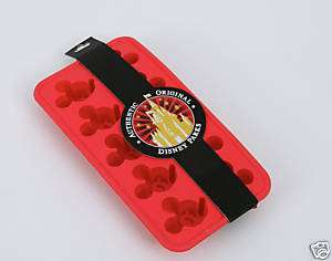 Disney World Mickey Icon Silicone Ice Cube Tray Mold Red   NEW