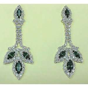 Green Crystal / Rhinestone Dangle Earrings