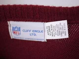 Vintage NFL WASHINGTON REDSKINS V Neck WOOL Blend SWEATER USA XL Cliff