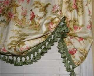 Balloon SHADE Valance Oriental Toile Fabric Pink Green Tassel Trim