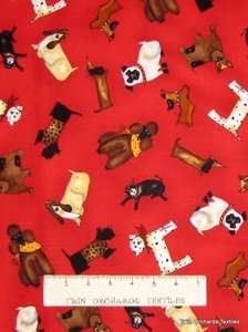 Timeless Treasures Fabric Dog Pets Brown White Black on Red Cotton