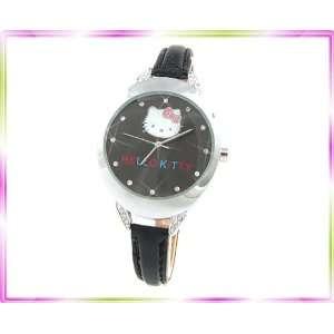 New Hellokitty Ladies Girl Diamante Leather Black Watch