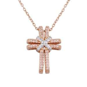 and Pink Cubic Zirconia Double Cross Pendant Necklace, 18 Jewelry