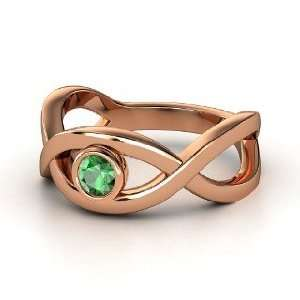 Double Helix Ring, Round Emerald 14K Rose Gold Ring