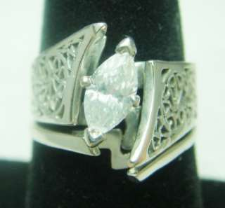 VINTAGE FILIGREE 14K WHITE GOLD 1/2 CARAT DIAMOND RING