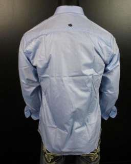 Mens Shirt STONE ROSE EZE 653 in Light Blue Button up WovenVery Shiny