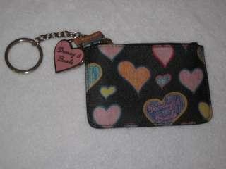 Dooney Bourke Black Heart Bag Coin Purse Key Chain Set