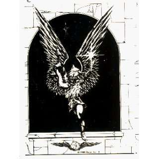 Flying Angel by Relix   Black on Clear   Sticker / Decal