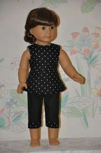 Black White Polka Dot Print Top Black Pant Set Fits American Girl Doll