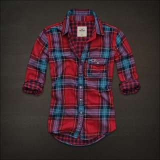 Abercrombie Women Manhattan Beach Button Down Red Plaid Shirt S