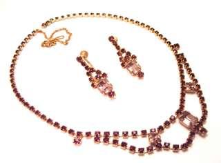 Necklace Earring Set Purple Rhinestone Sapphire Blue Drippy Jewelry