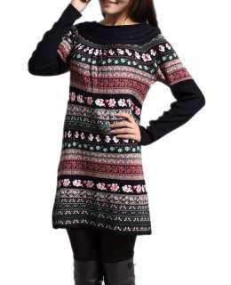 NWT Knitting Floral Wool Cashmere Sweater Dress S/M/L