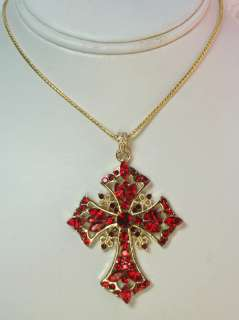 RED RHINESTONE CRYSTAL CROSS PENDANT NECKLACE R29