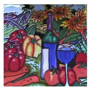 Wine Bottle Glass Peppers Decorative Ceramic Wall Art Tile