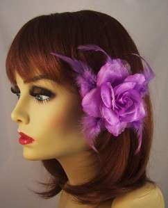 PURPLE Metallic ROSE FLOWER FEATHER HAIR Clip Ponytail Holder Brooch