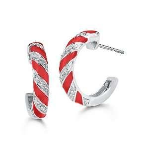 10k White Gold Diamond and Red Enamel Hoop Earrings (1/7