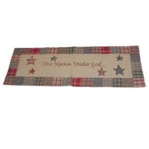 Patriotic 54 Quilted Table Runner says One Nation Under