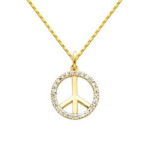 Peace Sign CZ Cubic Zerconia Charm Pendant with Yellow Gold 1mm Snail