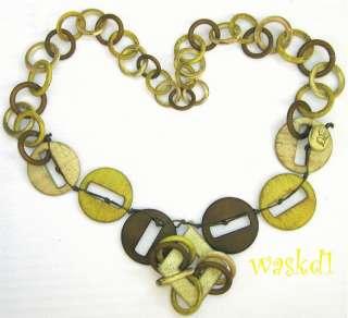 charreuse & min Bold Necklace V neck dress NW Auhenic  