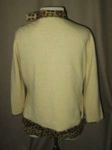 BANANA REPUBLIC Leopard Print Silk Blouse w/Angora/Wool Sweater Size S