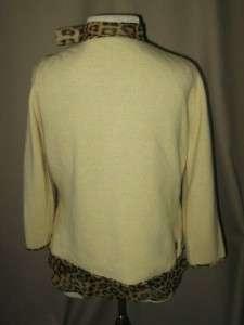BANANA REPUBLIC Leopard Print Silk Blouse w/Angora/Wool Sweater Size S