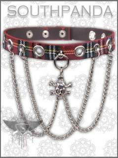 SW Punk Rock Skull Fashion EMO Faux Leather Necklace