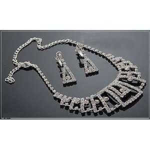 Wedding Bridal Prom Crystal Rhinestone Necklace Earring