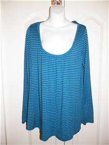 LUCKY BRAND Blue Striped SWING Long Sleeve Shirt XL X Large