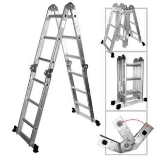 Multi Purpose Aluminum Folding Step Ladder 12.5FT Tools Foldable Handy