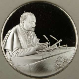 1979 Pope John Paul II, Visit to US, Silver Medal, By The Franklin