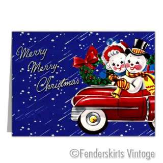 Vintage Repro 1940s Traveling Snowmen Christmas Cards