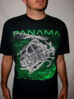Vtg 80s Black PANAMA MILITARY HELICOPTER T Shirt Sz XL