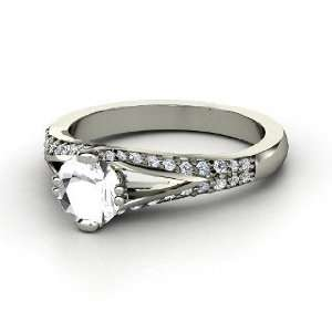 Guinevere Ring, Round Rock Crystal 14K White Gold Ring