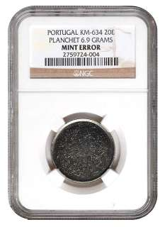 COMPLETE NGC GRADED PORTUGAL ESCUDO BLANK PLANCHET SET