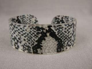 wide snake python lizard print plastic bangle cuff bracelet