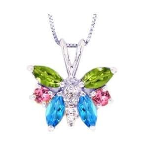 Multi Peridot Swiss Blue Topaz PinK Tourmaline , Chain  NOT included