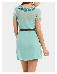 NEW $178 MARCIANO GUESS EVONNE EMBROIDERED SILK DRESS L