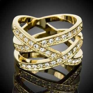 Fashion Crystal Bird Nest Yellow Gold GP Cocktail Ring