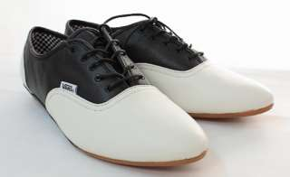 NEW VANS SOPHIE WHITE BLACK FLAT SHOES OXFORD LEATHER WOMENS ALL SIZES