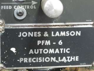 JONES & LAMSON PFM 6 PRECISION LATHE
