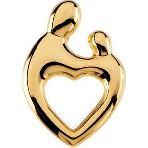 Yellow Gold Mother and Child Heart Pendant by Janel Russell Jewelry