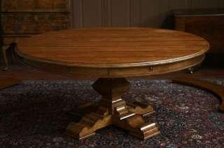 Large round perimeter table. farm table & leaves