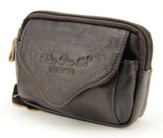 Mens Genuine Leather Belt Waist Bum Fanny Belly Pouch Zipper Bag Cell
